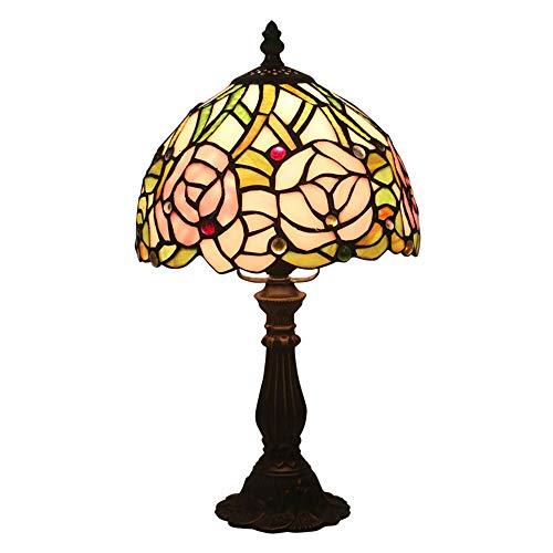 HXiaDyG Tafellampen, 15 inch (15 inch) groot, roze, roze, lampenkap in antieke stijl, kleurrijk glas, tafellampenkap voor woonkamer, kinderslaapkamer, dresser, salontafel voor slaapkamer, bedside of woonkamer