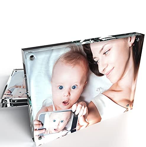 Kluger Punkt Bilderrahmen mit Magneten und 3D Effekt (2er-Set, 15x20cm). Rahmenlosen Acryl Fotorahmen. Transparenter Glas Freistehende Bildanzeige. Doppelseitige Desktop Fotoständer.