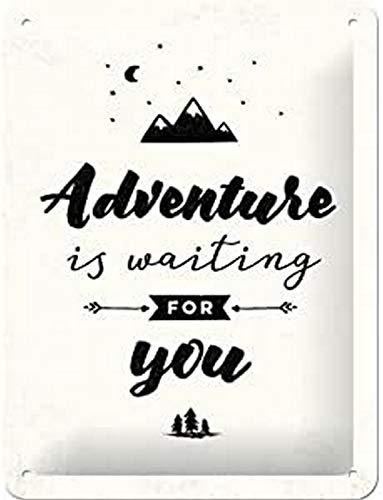 Nostalgic-Art Cartel de chapa retro Adventure is waiting – Idea de regalo para aventureros, metálico, Diseño vintage para decoración pared, 15 x 20 cm