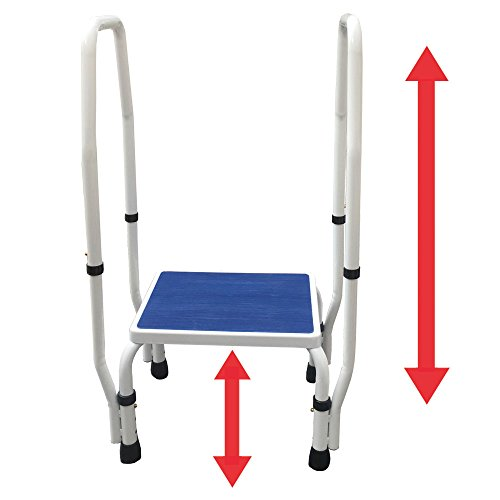 AdjustaStep(tm) DoubleSafe Deluxe Step Stool/Footstool with Dual Handle/Handrail, Height Adjustable. Modern White/Blue Design. Padded Non-Slip Hand Grips