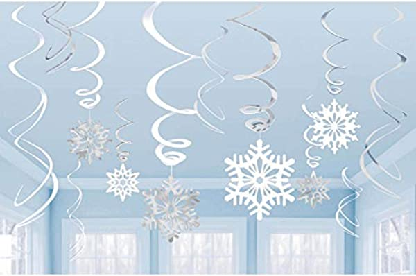Amscan Snowflakes Hanging Swirl Decorations 12pc