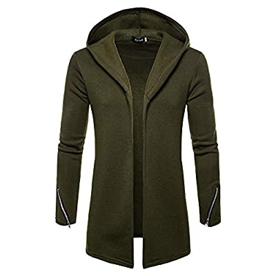 Men Hooded Solid Zipper Trench Coat Jacket Cardigan Long Sleeve Outwear Blouse Green