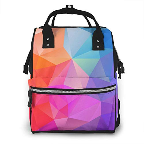 Shichangwei Diaper Bag Backpack Travel Bag Large Multifunction Waterproof Blue Pink Purple Multi Colored Polygon Stylish and Durable Nappy Bag for Baby Care School Backpack