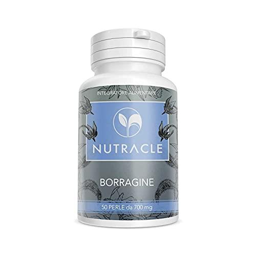 NUTRACLE Borragine 50 perle da 700 mg   Ricco di acido gamma linoleico GLA 20%   Nutre ed idrata la pelle ed i capelli   Contrasta i disturbi ormonali legati al ciclo mestruale