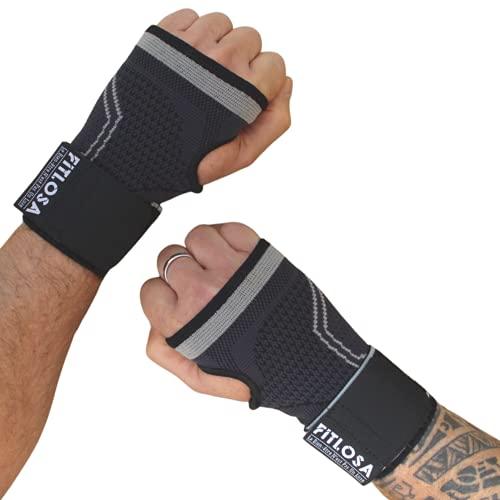 FITLOSA - 2 Set Handgelenk Bandagen Fitness - handbandage Sport - Schutzschiene - Verstellbar mit Band - Männer Frauen - Rechts Linke - Hand Bandage - Krafttraining - Wrist Wrap Support - Grau L