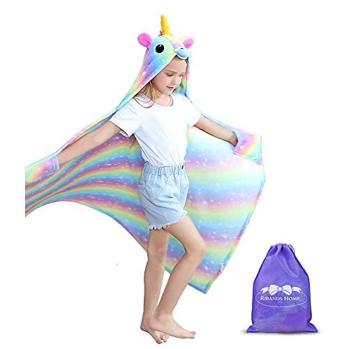 RIBANDS HOME Hooded Unicorn Blanket| Silky Soft Wearable Hoodie Blanket for Kids, Toddlers, Children| Animal Hoodie Cloak, Throw Blanket w/Horn & Mane| Rainbow & Stars Variations - Milky Way