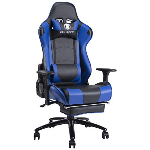 KILLABEE 350lb Massage Gaming Chair Metal Base, Adjustable Massage Lumbar Cushion, Retractable Footrest Big and Tall High Back Ergonomic Leather Racing Computer Desk Chair, Blue