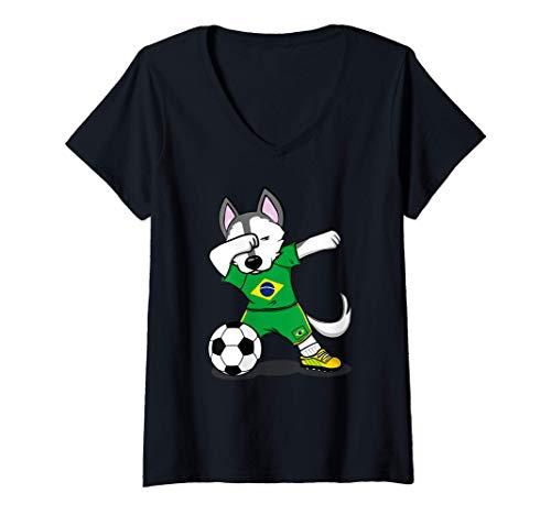 Mujer Dabbing Husky Dog Brasil Fútbol - Bandera brasileña Camiseta Cuello V
