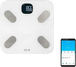 SPC Atenea Fit - Báscula de análisis aorporal inteligente Wi-Fi, para usuarios ilimitados (compatible con Amazon Alexa y Google Home) – Color Blanco