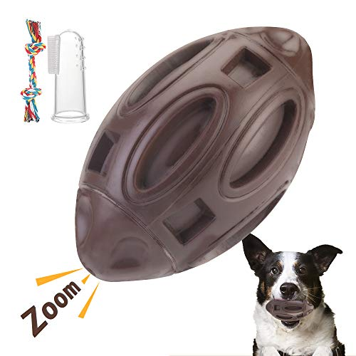 Squeaky Dog Toys for Aggressive Chewers, Interactive Chew Ball with Squeaker, Almost Indestructible and Durable Rubber Pet Toy for Medium and Large Breed