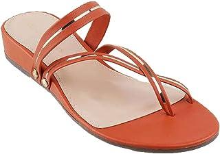 LEMON & PEPPER by Shoppers Stop Pu Open Back Womens Casual Wedge Heel Sandals (FW-LP5879-OR004, ORANGE, 38)