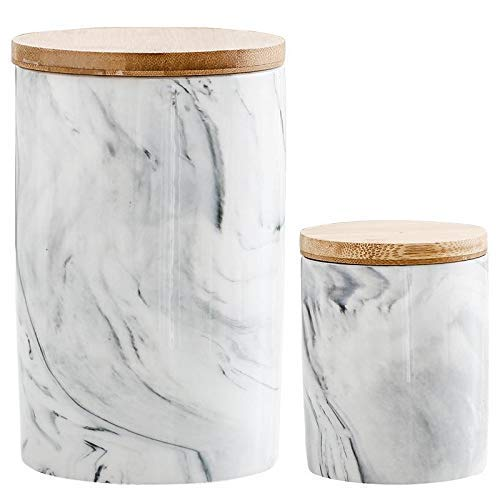 PIVFEDQX Botella de Almacenamiento Tarro Patrón de mármol Cerámica Cocina Juego de Tanques de condimentos Cubierta de Madera Salero Tarro de Especias, 4