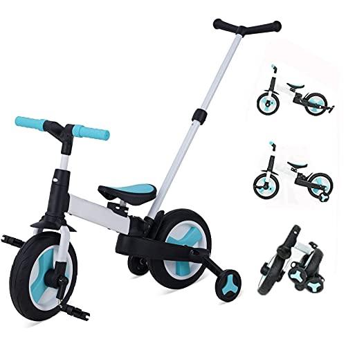 Chinqueeny三輪車 手押し棒付き 折りたたみ 5in1 変身バイク 子供用自転車 手押し車 ベビーカー ペダル付き 組み立て簡単 コンパクト 超軽量 持ち運びやすい 2歳 3歳 4歳 5歳 6歳 誕生日プレゼント