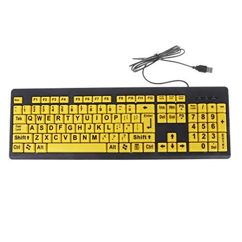 chenpaif Teclado, Letra Grande Negra, botón Amarillo Teclado con Cable USB para Personas Mayores y de Baja visión