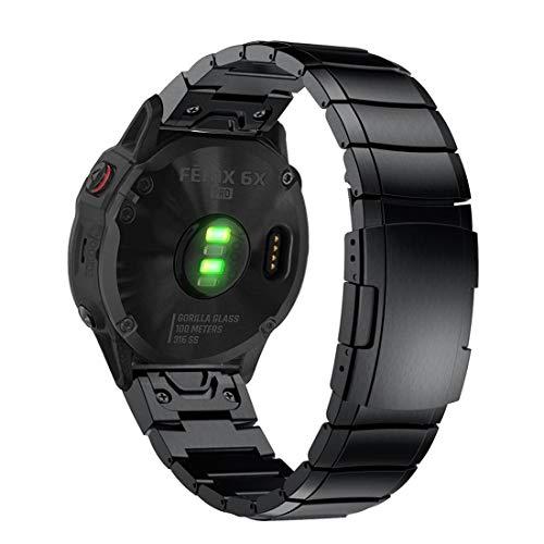 YOOSIDE Fenix 5X Plus/Fenix 6X Armband, QuickFit Metall Armband Sicherheitsschnalle Gliederarmband Uhrenarmband für Garmin Fenix 5X/Fenix 5X Plus/Fenix 3/Quatix 3/ D2 Delta PX/,Schwarz