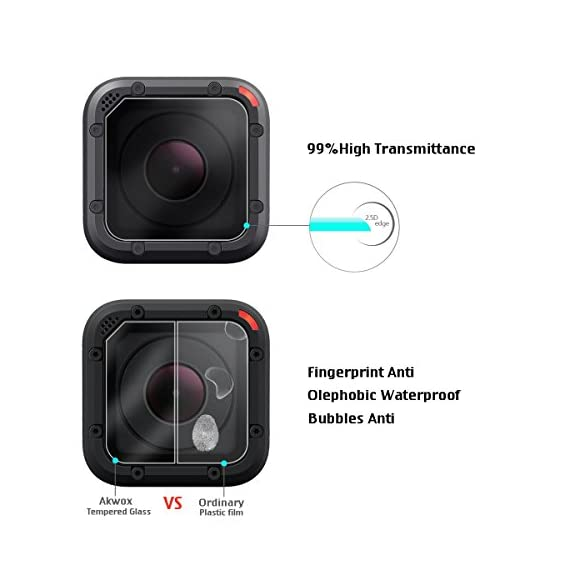 (Pack of 3) Tempered Glass Screen Protector for Gopro Hero 4 Session Hero 5 Session, Akwox 0.3mm 9H Hard Scratch… 7 High Hardness: 9H surface hardness tempered glass screen protector for GoPro session. Featuring maximum protection from high impact drops, scratches, scrapes, and bumps. High Transmittance Transparent: With not influence the Video shooting effect. Super Toughness: The protector will not break into small sharp pieces even if it is broken, which makes it safer than other glass products.