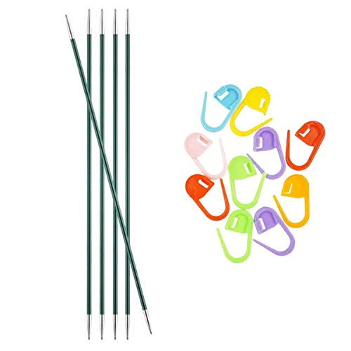 Knitter's Pride Knitting Needles Zing DPN Double Pointed 6 inch Size US 2.5 (3mm) Bundle with 10 Artsiga Crafts Stitch Markers 140005
