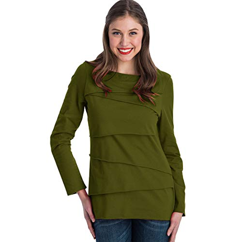 Neon Buddha Women's Loose Fitting Cotton T Shirt Female Long Sleeve Boatneck Top with Assymetric Layers,Green Tea,Large