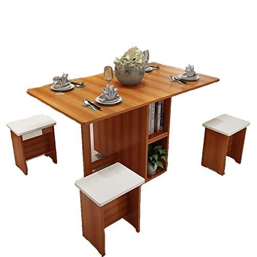 JIADUOBAO Mesa de comedor color marrón claro 5 piezas + 4 taburetes mesa de comedor mesa de picnic Langer Retro mesa de escritorio plegable de madera (tamaño: 1,2 m)