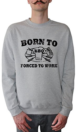 Mister Merchandise Homme Sweatshirt Born to BBQ Forced to Work Grillen Grill BarbecuePull Sweat Men, Taille : L, Couleur: Gris