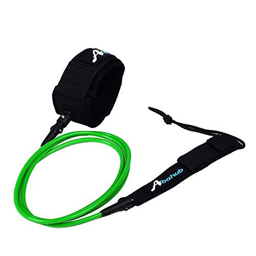Abahub Premium Surfboard Leash, Straight Surf Board Leg Rope, Surfing Legrope Strap for Longboard, SUP, Paddleboard, Boogie Boards Replacement 10 Foot Green 7 mm Thick