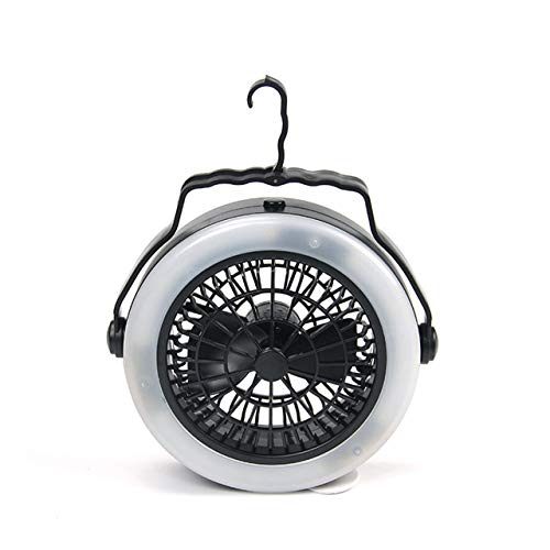 """Portable LED Lantern Camping Fan, 50 Working Hours Battery Operated 6.7"""" Tent Fan USB Charging Desk Fan with Hanging Hook for Tent Car RV Outdoor BBQ Fishing Lighting"""