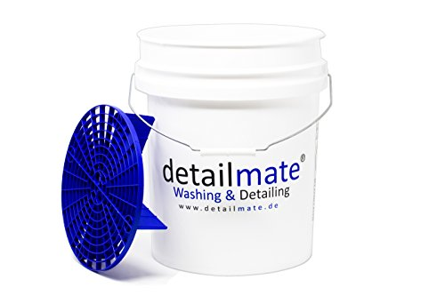 Detailmate GritGUARD US Gallon wasemmer 5 GAL (ca. 20 liter) wit, GritGUARD emmer inzet blauw GRIT Guard Wash Bucket 5 Gallon versterkt, extra dikke muur, geschikt voor deksel Gamma Seal LID