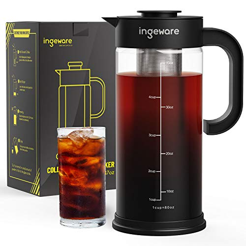 Ingeware Cold Brew Coffee Maker -1.4L/47oz Airtight Iced Coffee Maker, Iced Tea Maker with Removable Stainless Steel Filter, Easy Pour Spout - Large Thick Borosilicate Glass Pitcher