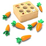 Newin Star Juguetes de Madera educativos para niños pequeños, Cosecha de la Zanahoria Clasificación a Juego del Rompecabezas del Juguete de Aprendizaje Preescolar Habilidad motora Fina