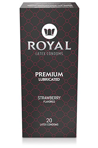 Royal Ultra-Thin Latex Condoms - Strawberry Flavored and Lubricated - Strong, FDA Approved Non-Toxic Latex - All Natural, Organic, Vegan, No Cruelty Contraceptive - Snug Fit, Accurate Sizing - 20 Pack