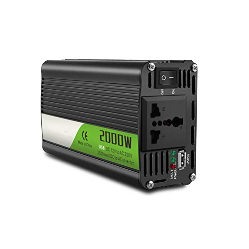 Inversor de Corriente de 2000 Vatios Y 12 V, Salidas de 220 V Ca, Kit de InstalacióN Incluido, Fuente de AlimentacióN de Respaldo Automotriz Para Licuadoras, Aspiradoras