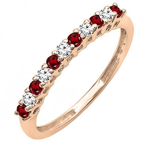 18K Rose Gold Round Garnet & White Diamond Anniversary Stackable Wedding Band...