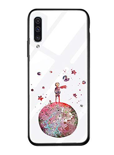 Suhctup Vidrio Templado Case Compatible con Samsung Galaxy J2 Pro/J250 Funda Transparente Lindo Dibujos Cristal Templado Trasera Carcasa con Suave Silicona TPU Bumper Anti-Amarilla Cover,Principito