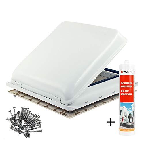 Fiamma Dachfenster Vent 40x40cm Weiß + Verdunklungsrollo | Dekalin | Schrauben
