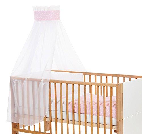 Babybay Ciel de lit pour enfant avec ruban pour application couronne/cœur Rose pâle
