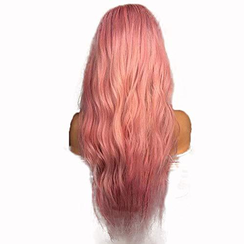 Media peluca delantera del cordón del frente tocados rosa onda grande medio rollo largo peluca, 24 pulgadas