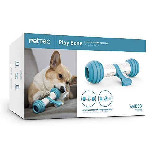PetTec Interaktiver Spielknochen Hundespielzeug   akkubetrieben für Hunde, Katzen & Welpen   beißfest & robust mit automatischer Steuerung (Play Bone)
