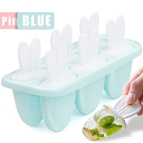 Zaloife Stampi per Ghiaccioli, 6 Blu Gelato Stampi per Gelati Stampo Ice Lolly Riutilizzabile Stampo per Gelato Senza BPA Ideale per la Preparazione di Ghiaccioli, Gelati, Sorbetti