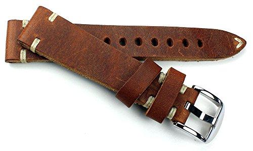 19mm Vintage Uhrenarmband aus Sattelleder Shabby shick Unikat Handgebürstet und Handgemacht in Deutschland braun Cognac