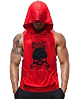 SZKANI Mens Skull Print Sleeveless Fitness Vest Bodybuilding Stringers Workout Tank Tops (X-Large, Red(Single Dumbbell))