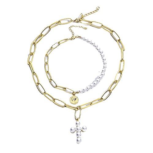 Conjunto de collar para mujeres y niñas con cruz de perlas collar Bohemia en capas gargantilla collar de moneda Neckalce cruz colgante collar