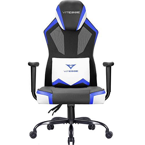Vitesse Gaming Chair Breathable Mesh High Back Racing Style Chair Ergonomic Swivel Computer Desk Chair With Lumbar Support Blue Pcpartpicker