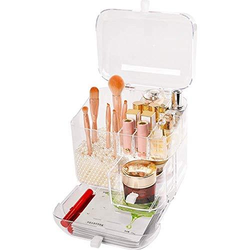 Pantalla neceser de maquillaje cosmético Hasta Claro organizador de escritorio caja de almacenamiento de cepillo del lápiz labial del estante del sostenedor conveniente for el dormitorio y el baño fen