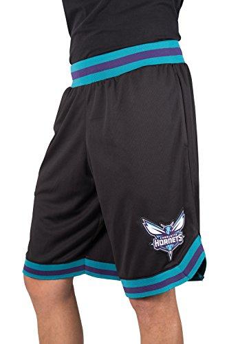 Ultra Game NBA Charlotte Hornets Mens Woven Basketball Shorts, Team Color, Large