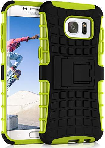 ONEFLOW Tank Case kompatibel mit Samsung Galaxy S7 Edge - Hülle Outdoor stoßfest, Handyhülle mit Ständer, Kamera- und Bildschirmschutz, Handy Hardcase Panzerhülle, Lime - Grün
