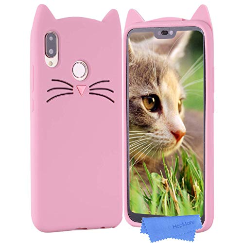 HopMore Gato Funda para Huawei P20 Lite Silicona Motivo 3D Divertidas Gato TPU Gel One Piece Kawaii Ultrafina Slim Case Antigolpes Caso Protección Dibujo Gracioso para Huawei P20 Lite - Rosa