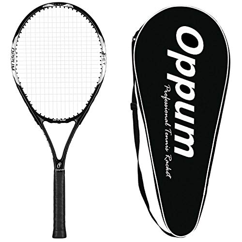 oppum Adult Carbon Fiber Tennis Racket, Super Light Weight Tennis Racquets Shock-Proof and Throw-Proof,Include Tennis Bag Tennis Overgrip (New T80 -(Black), 4 3/8)