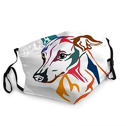 Colorido retrato en perfil de perro galgo italiano, máscara facial reutilizable pasamontañas lavable al aire libre nariz cubierta para la boca para hombres y mujeres