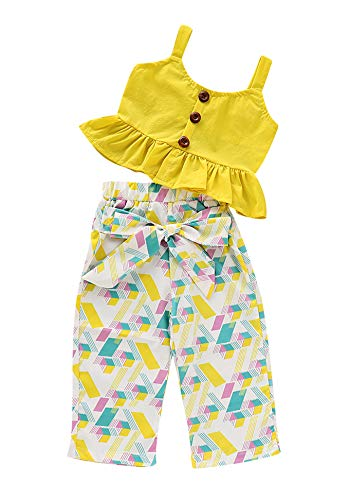 1-6T Baby Girl Pleated Wide Leg Palazzo Pants Outfits