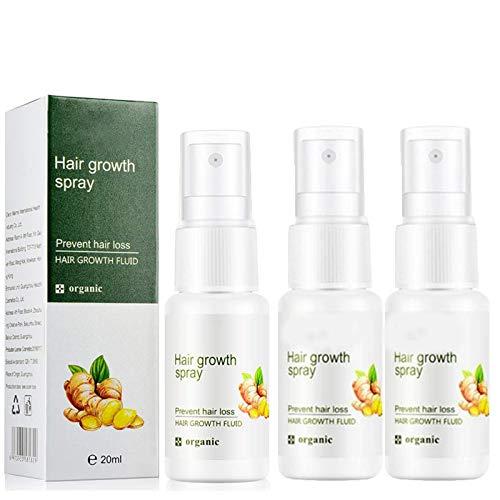 Regrowth gingembre spray croissance rapide des cheveux repousse dense gingembre sérum huile Anti perte nourrissant améliorer les follicules capillaires favoriser la croissance des cheveux (3PC)